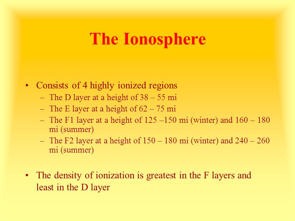 The Ionosphere Consists of 4 highly ionized regions –The D layer at a height of 38 – 55 mi –The E layer at a height of 62 – 75 mi –The F1 layer at a h