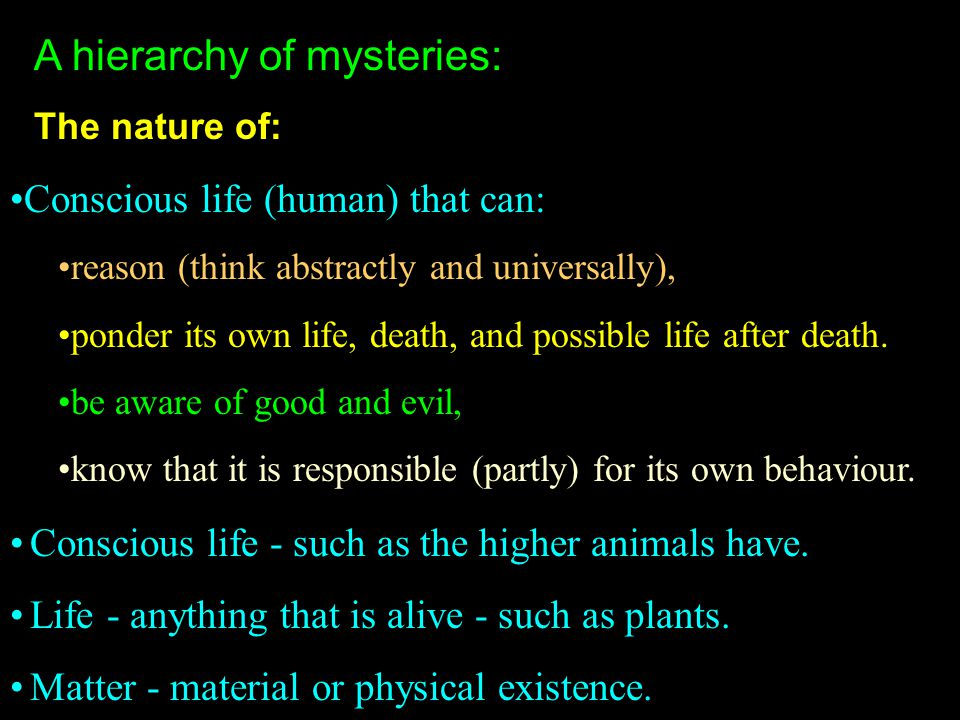 A hierarchy of mysteries: The nature of: Conscious life - such as the higher animals have. Life - anything that is alive - such as plants. Matter - ma