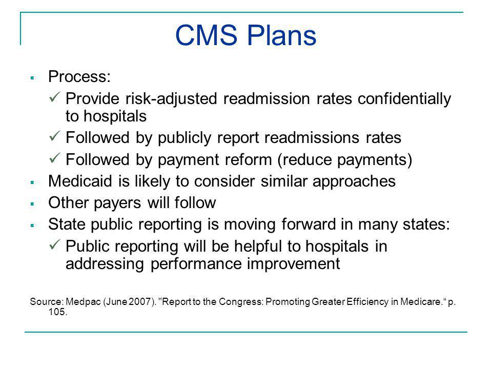 CMS Plans  Process: Provide risk-adjusted readmission rates confidentially to hospitals Followed by publicly report readmissions rates Followed by pa