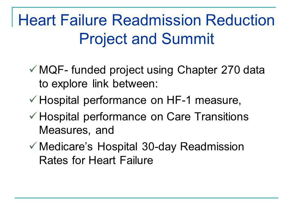 Heart Failure Readmission Reduction Project and Summit MQF- funded project using Chapter 270 data to explore link between: Hospital performance on HF-1 measure, Hospital performance on Care Transitions Measures, and Medicare's Hospital 30-day Readmission Rates for Heart Failure