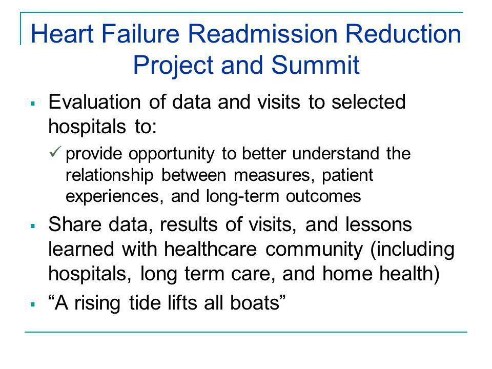 Heart Failure Readmission Reduction Project and Summit  Evaluation of data and visits to selected hospitals to: provide opportunity to better underst