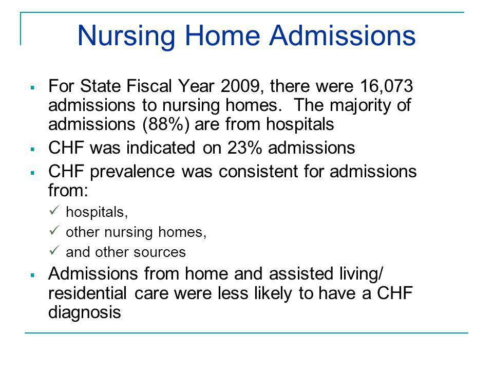 Nursing Home Admissions  For State Fiscal Year 2009, there were 16,073 admissions to nursing homes. The majority of admissions (88%) are from hospita
