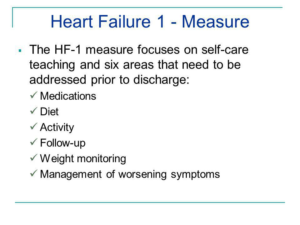 Heart Failure 1 - Measure  The HF-1 measure focuses on self-care teaching and six areas that need to be addressed prior to discharge: Medications Die