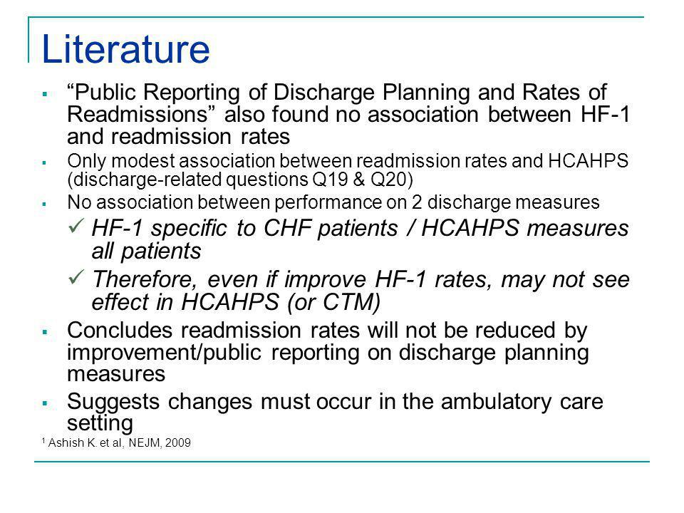 "Literature  ""Public Reporting of Discharge Planning and Rates of Readmissions"" also found no association between HF-1 and readmission rates  Only mo"