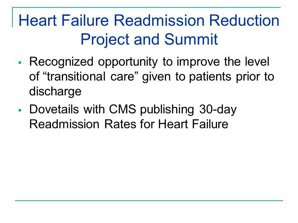 "Heart Failure Readmission Reduction Project and Summit  Recognized opportunity to improve the level of ""transitional care"" given to patients prior to"