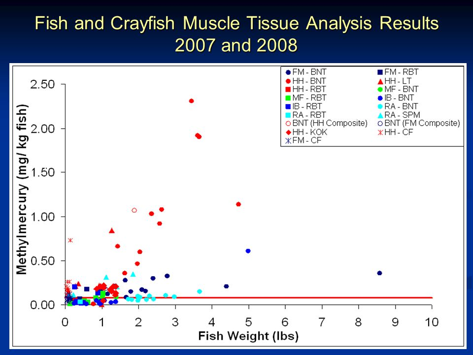 Fish and Crayfish Muscle Tissue Analysis Results 2007 and 2008 (zoom in) EPA Guideline: 0.3 ppm OEHHA Screening Level: 0.08 ppm