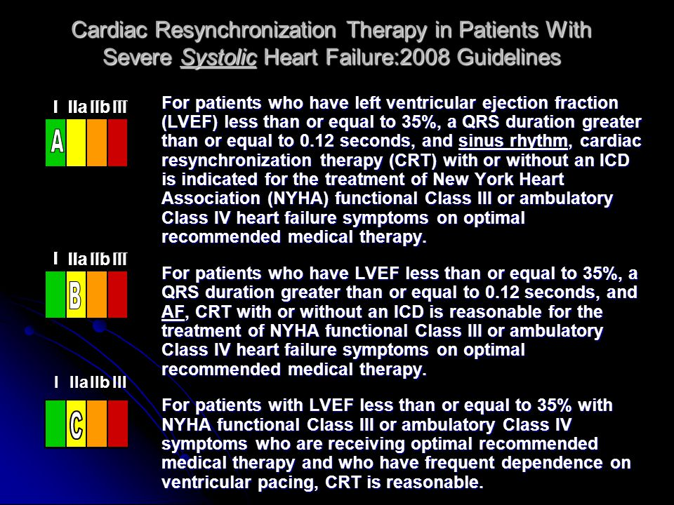 Cardiac Resynchronization Therapy in Patients With Severe Systolic Heart Failure:2008 Guidelines For patients who have left ventricular ejection fract
