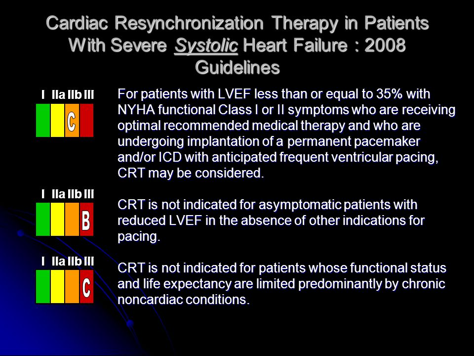 Cardiac Resynchronization Therapy in Patients With Severe Systolic Heart Failure : 2008 Guidelines For patients with LVEF less than or equal to 35% wi