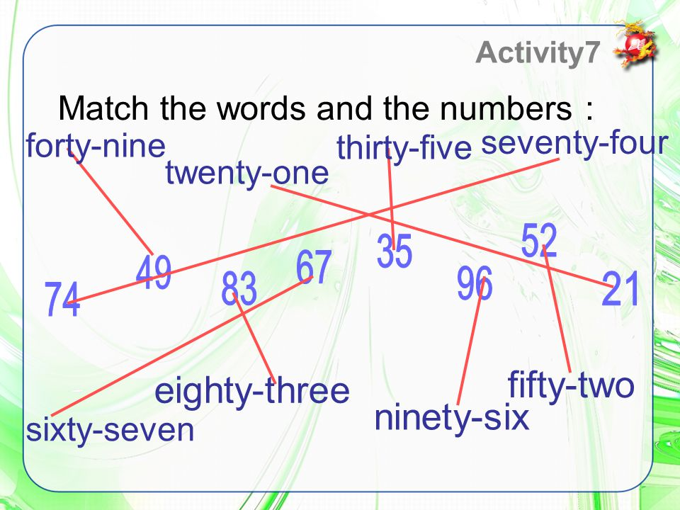 Match the words and the numbers : Activity7 forty-nine twenty-one thirty-five seventy-four sixty-seven eighty-three ninety-six fifty-two