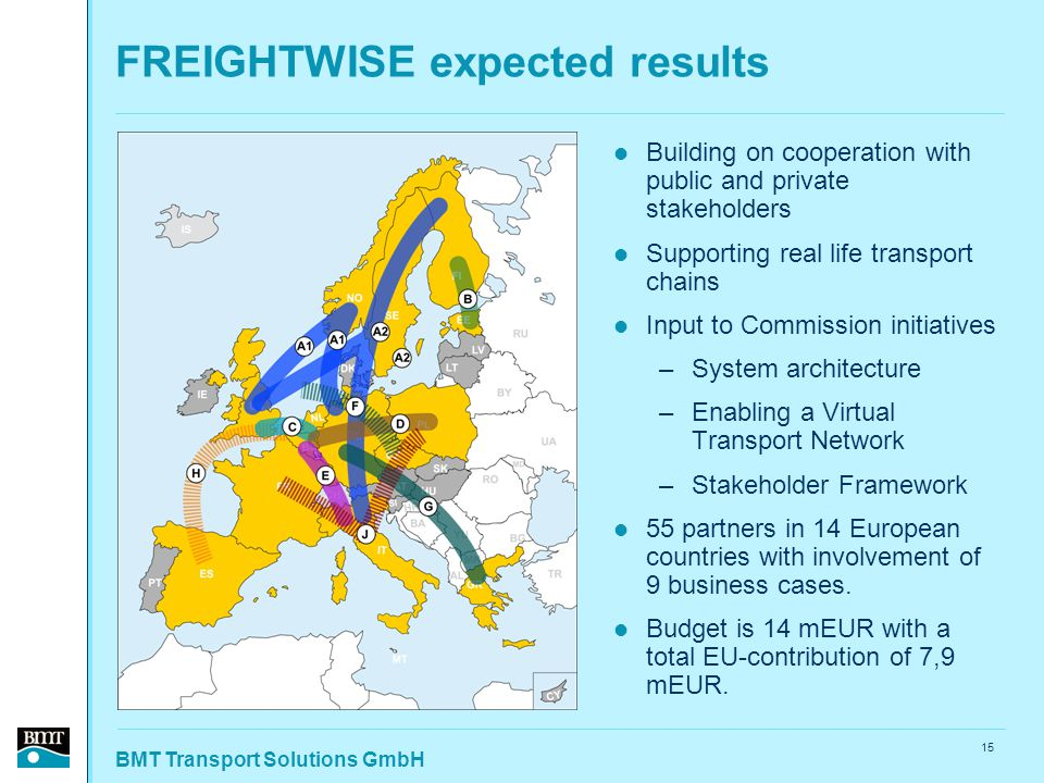 BMT Transport Solutions GmbH 15 FREIGHTWISE expected results Building on cooperation with public and private stakeholders Supporting real life transport chains Input to Commission initiatives –System architecture –Enabling a Virtual Transport Network –Stakeholder Framework 55 partners in 14 European countries with involvement of 9 business cases.