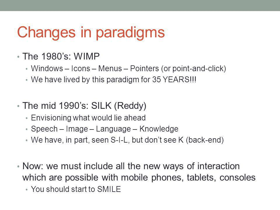 Changes in paradigms The 1980's: WIMP Windows – Icons – Menus – Pointers (or point-and-click) We have lived by this paradigm for 35 YEARS!!.