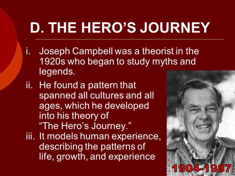 D. THE HERO'S JOURNEY i.Joseph Campbell was a theorist in the 1920s who began to study myths and legends. ii.He found a pattern that spanned all cultu