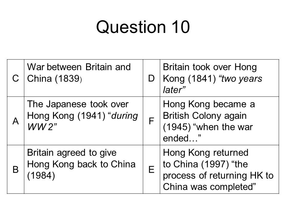 Question 10 C War between Britain and China (1839 ) D Britain took over Hong Kong (1841) two years later A The Japanese took over Hong Kong (1941) during WW 2 F Hong Kong became a British Colony again (1945) when the war ended… B Britain agreed to give Hong Kong back to China (1984) E Hong Kong returned to China (1997) the process of returning HK to China was completed