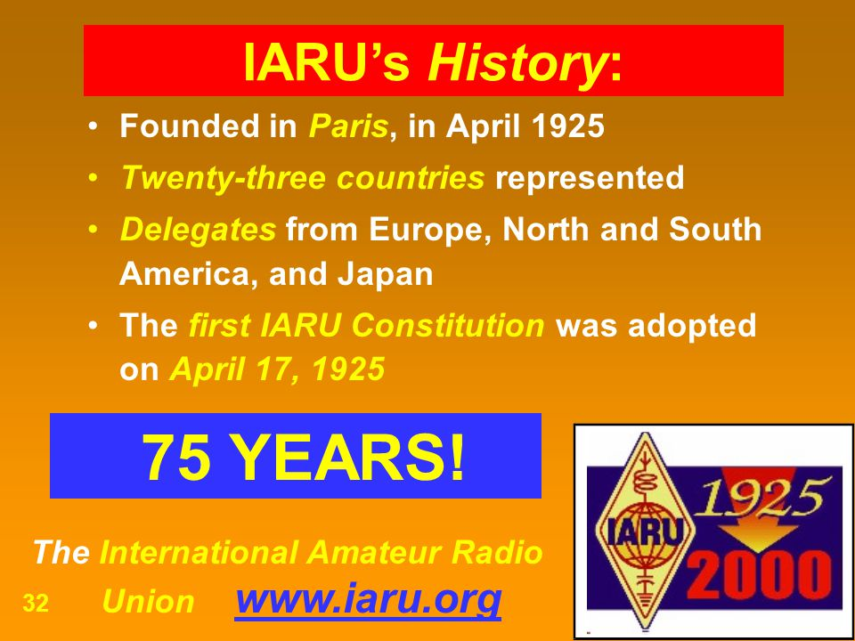 The International Amateur Radio Union www.iaru.org 32 Founded in Paris, in April 1925 Twenty-three countries represented Delegates from Europe, North