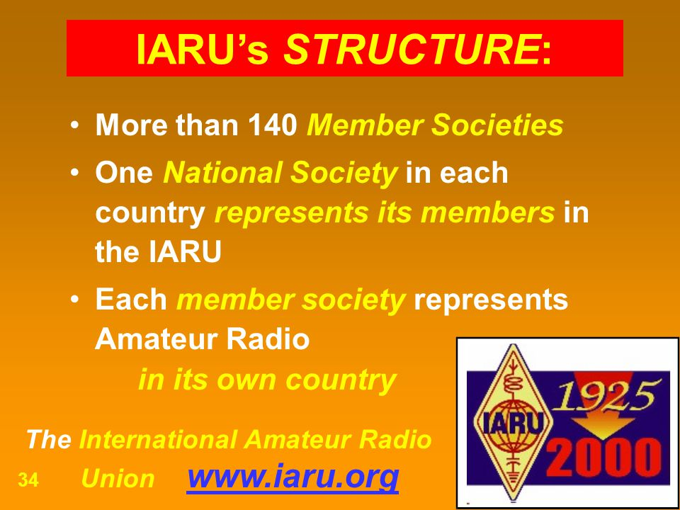 The International Amateur Radio Union www.iaru.org 34 More than 140 Member Societies One National Society in each country represents its members in th