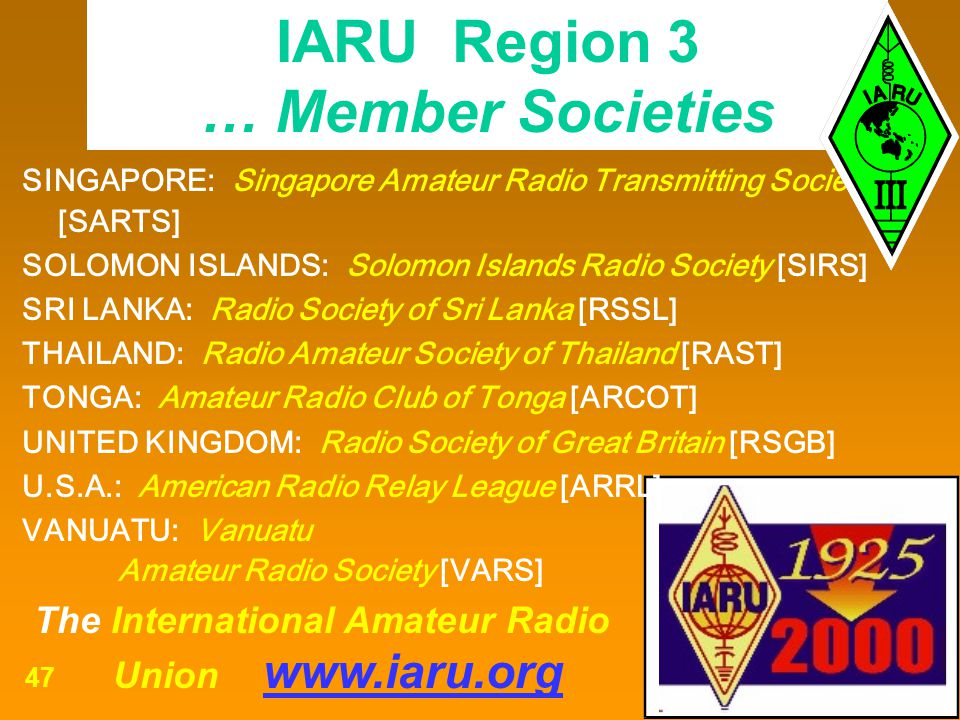The International Amateur Radio Union www.iaru.org 47 SINGAPORE: Singapore Amateur Radio Transmitting Society [SARTS] SOLOMON ISLANDS: Solomon Islands