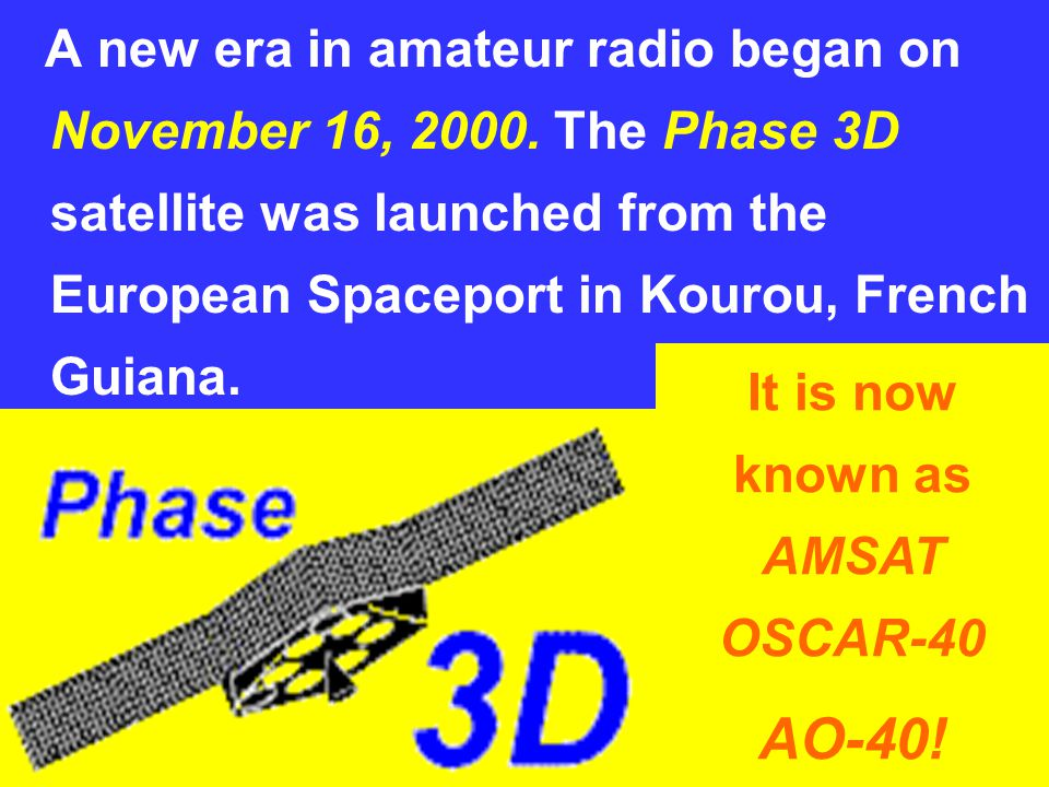 The International Amateur Radio Union www.iaru.org 8 A new era in amateur radio began on November 16, 2000. The Phase 3D satellite was launched from t