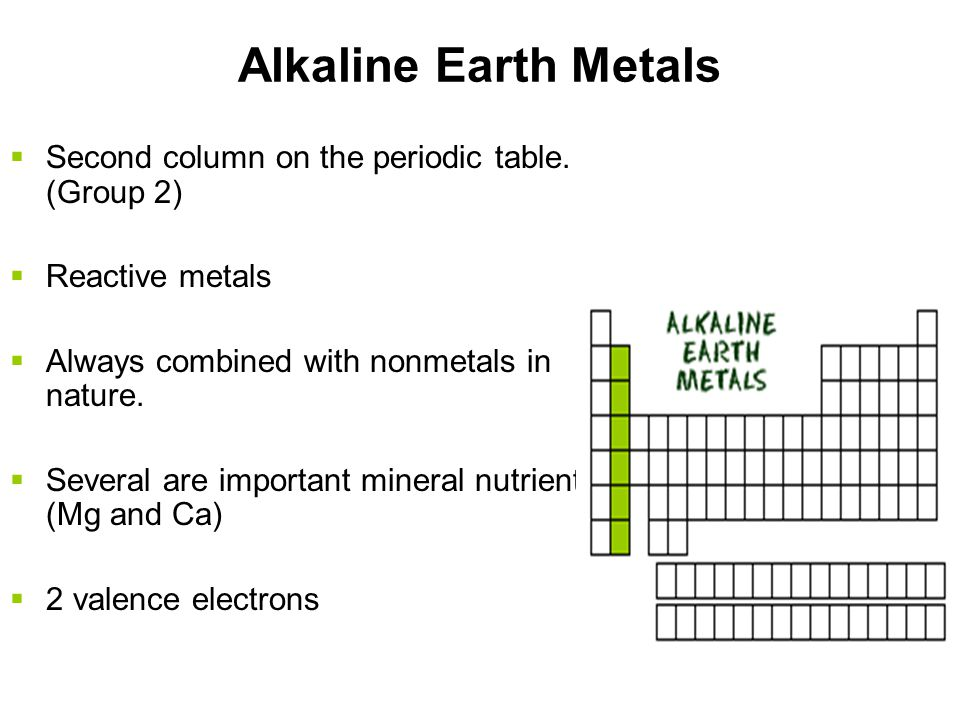 Alkali Metals  1 st column on the periodic table (Group 1) not including hydrogen.  Very reactive metals  Always combined with something else in na