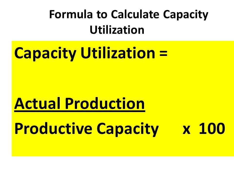 Formula to Calculate Capacity Utilization Capacity Utilization = Actual Production Productive Capacity x 100