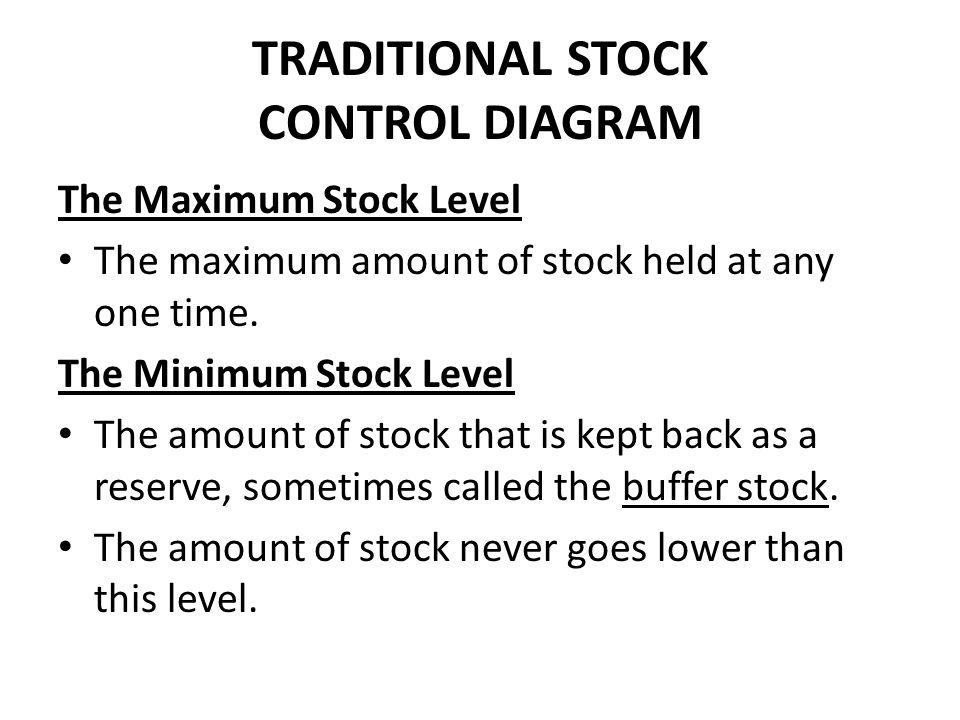 TRADITIONAL STOCK CONTROL DIAGRAM The Maximum Stock Level The maximum amount of stock held at any one time. The Minimum Stock Level The amount of stoc