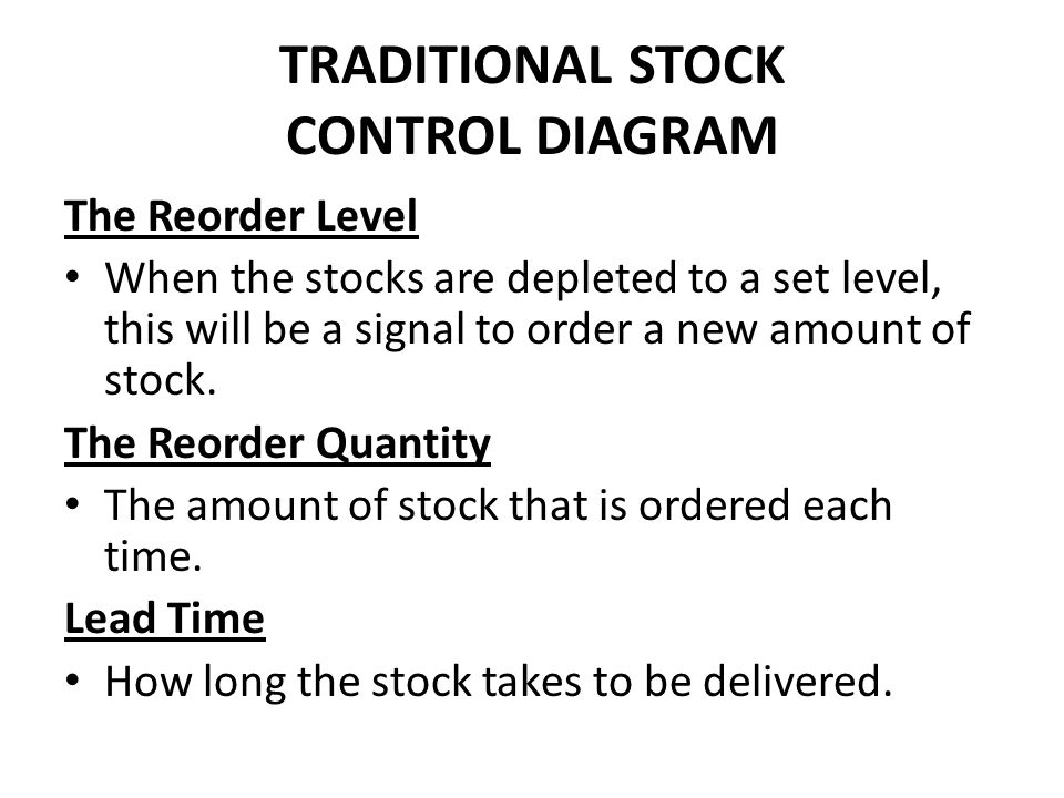 TRADITIONAL STOCK CONTROL DIAGRAM The Reorder Level When the stocks are depleted to a set level, this will be a signal to order a new amount of stock.
