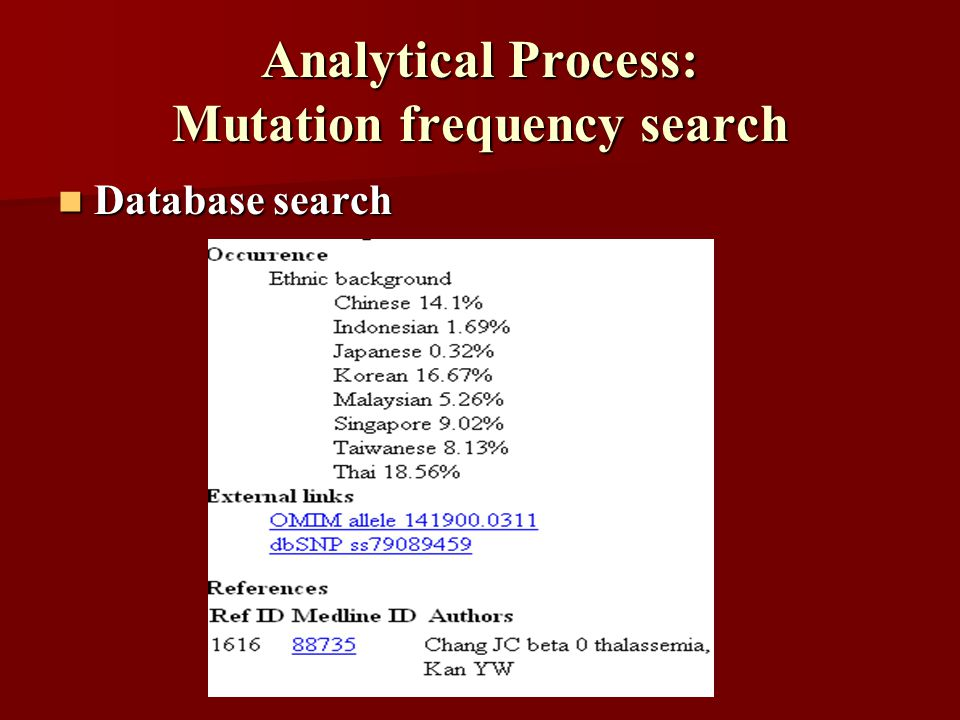 Analytical Process: Mutation frequency search Database search Database search