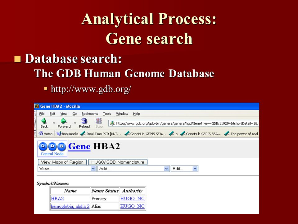 Analytical Process: Gene search Database search: Database search: The GDB Human Genome Database The GDB Human Genome Database  http://www.gdb.org/