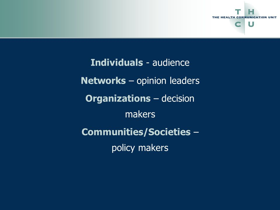 Individuals - audience Networks – opinion leaders Organizations – decision makers Communities/Societies – policy makers