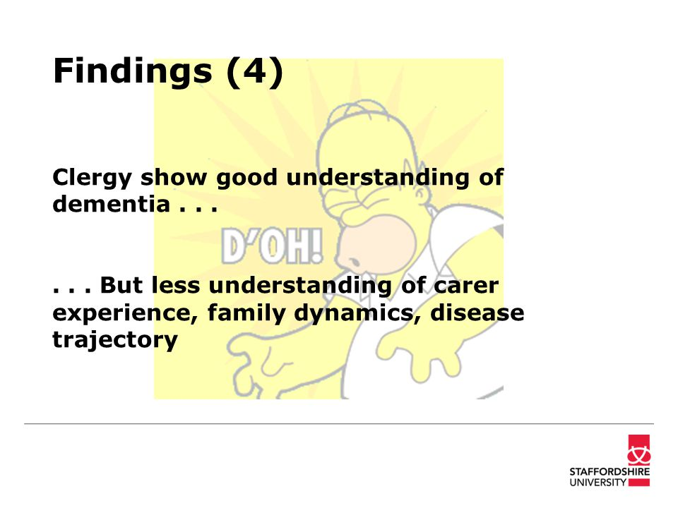 Findings (4) Clergy show good understanding of dementia......