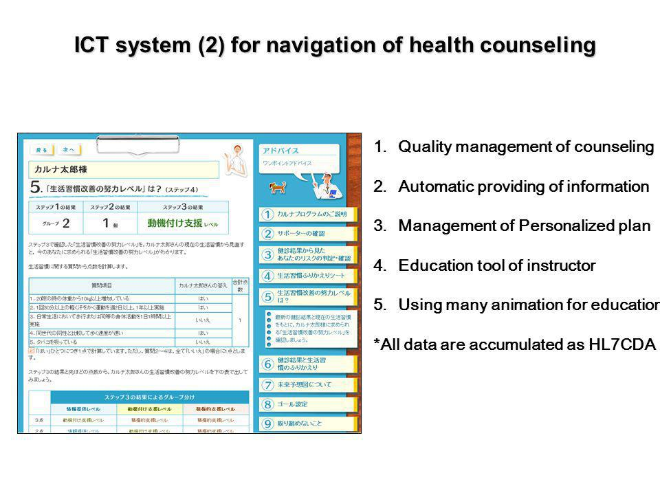 ICT system (2) for navigation of health counseling 1.Quality management of counseling 2.Automatic providing of information 3.Management of Personalized plan 4.Education tool of instructor 5.Using many animation for education *All data are accumulated as HL7CDA