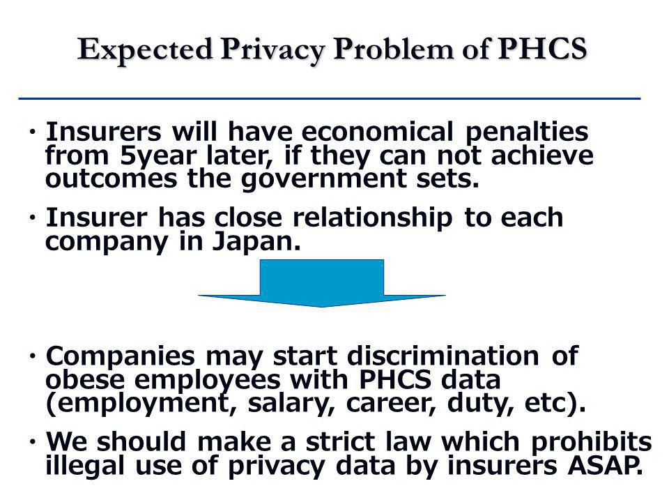 Expected Privacy Problem of PHCS ・ Insurers will have economical penalties from 5year later, if they can not achieve outcomes the government sets.