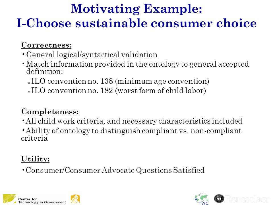 Motivating Example: I-Choose sustainable consumer choice Correctness: General logical/syntactical validation Match information provided in the ontology to general accepted definition: o ILO convention no.