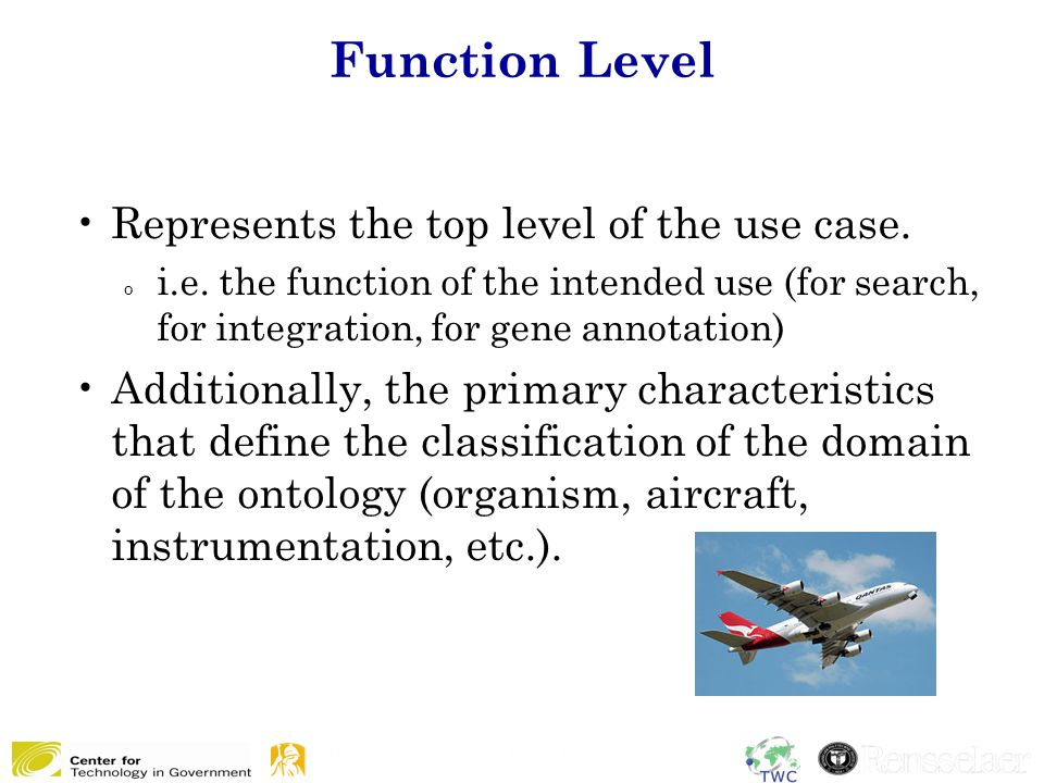 Function Level Represents the top level of the use case. o i.e. the function of the intended use (for search, for integration, for gene annotation) Ad