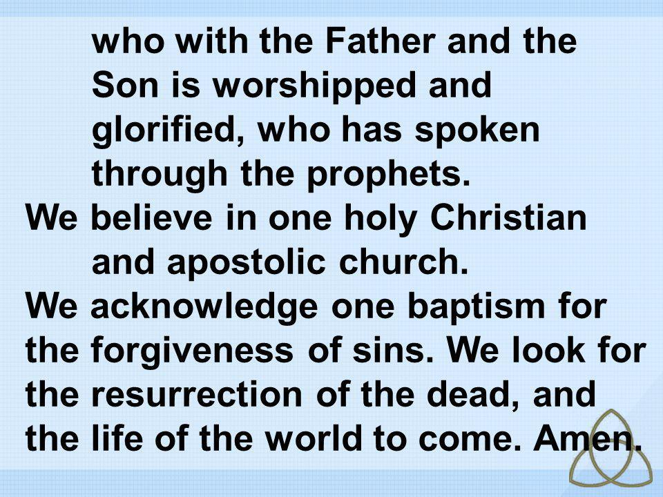 who with the Father and the Son is worshipped and glorified, who has spoken through the prophets. We believe in one holy Christian and apostolic churc