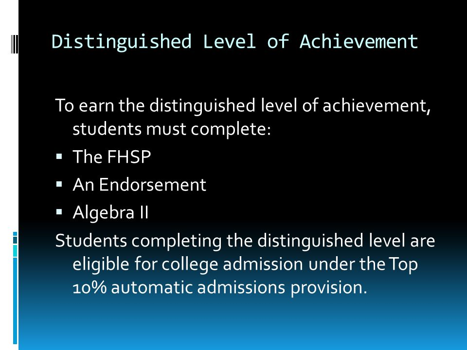 Distinguished Level of Achievement To earn the distinguished level of achievement, students must complete:  The FHSP  An Endorsement  Algebra II St