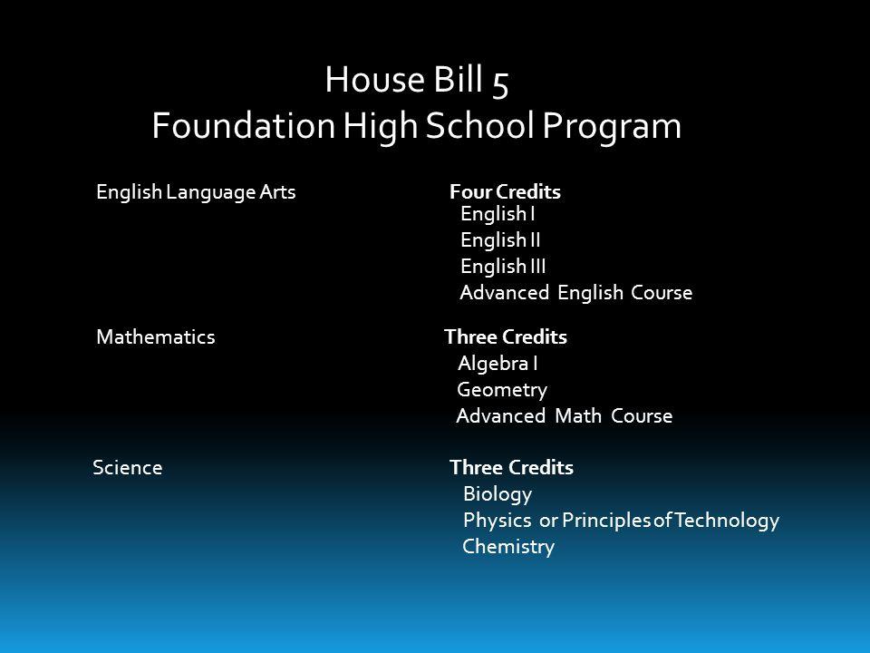 House Bill 5 Foundation High School Program English Language Arts Four Credits English I English II English III Advanced English Course MathematicsThr
