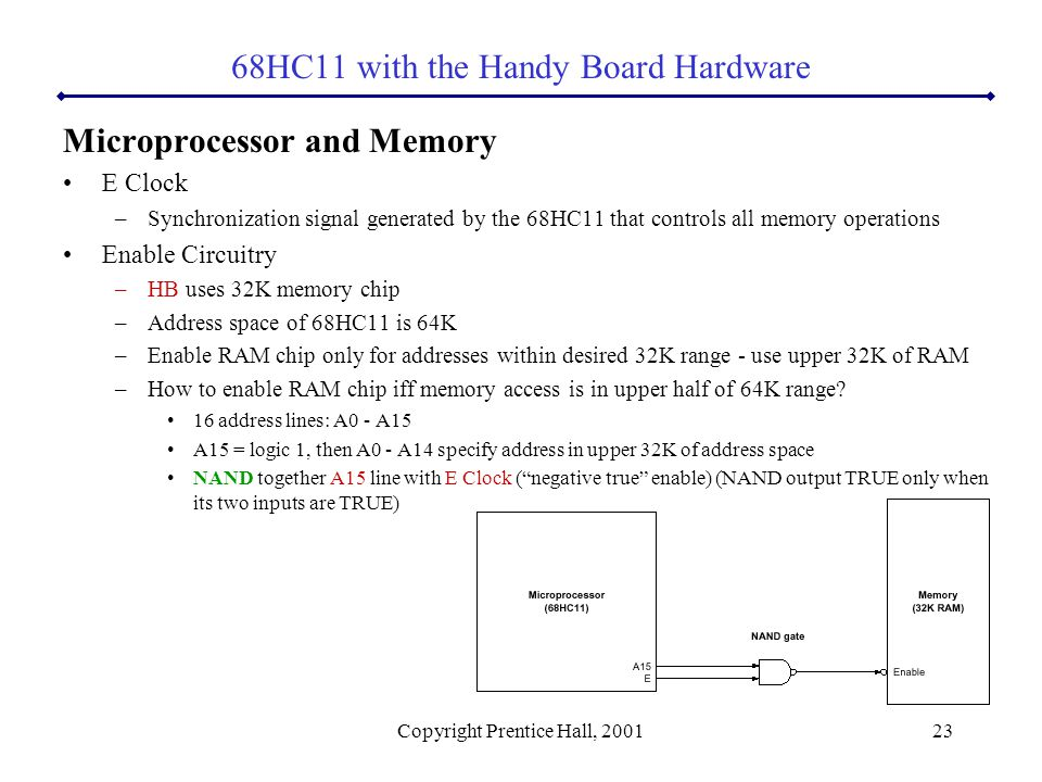 Copyright Prentice Hall, 200123 Microprocessor and Memory E Clock –Synchronization signal generated by the 68HC11 that controls all memory operations Enable Circuitry –HB uses 32K memory chip –Address space of 68HC11 is 64K –Enable RAM chip only for addresses within desired 32K range - use upper 32K of RAM –How to enable RAM chip iff memory access is in upper half of 64K range.