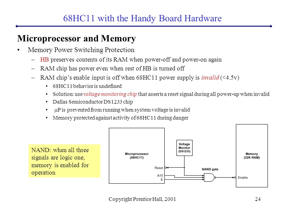 Copyright Prentice Hall, 200124 Microprocessor and Memory Memory Power Switching Protection –HB preserves contents of its RAM when power-off and power-on again –RAM chip has power even when rest of HB is turned off –RAM chip's enable input is off when 68HC11 power supply is invalid (<4.5v) 68HC11 behavior is undefined Solution: use voltage monitoring chip that asserts a reset signal during all power-up when invalid Dallas Semiconductor DS1233 chip  P is prevented from running when system voltage is invalid Memory protected against activity of 68HC11 during danger 68HC11 with the Handy Board Hardware NAND: when all three signals are logic one, memory is enabled for operation