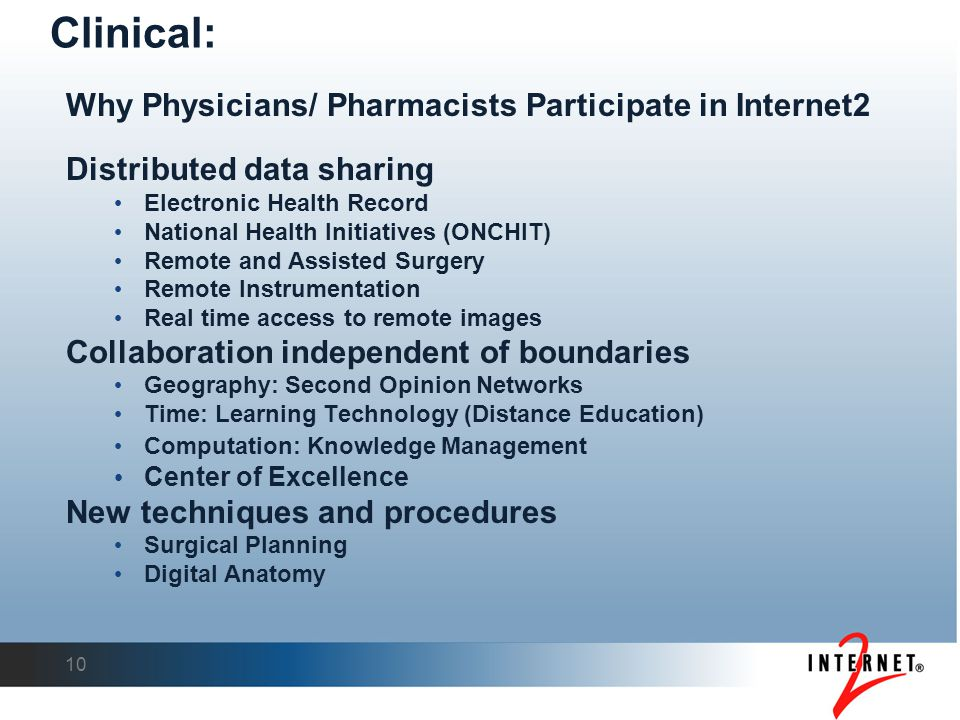 Why Physicians/ Pharmacists Participate in Internet2 Distributed data sharing Electronic Health Record National Health Initiatives (ONCHIT) Remote and Assisted Surgery Remote Instrumentation Real time access to remote images Collaboration independent of boundaries Geography: Second Opinion Networks Time: Learning Technology (Distance Education) Computation: Knowledge Management Center of Excellence New techniques and procedures Surgical Planning Digital Anatomy 10 Clinical:
