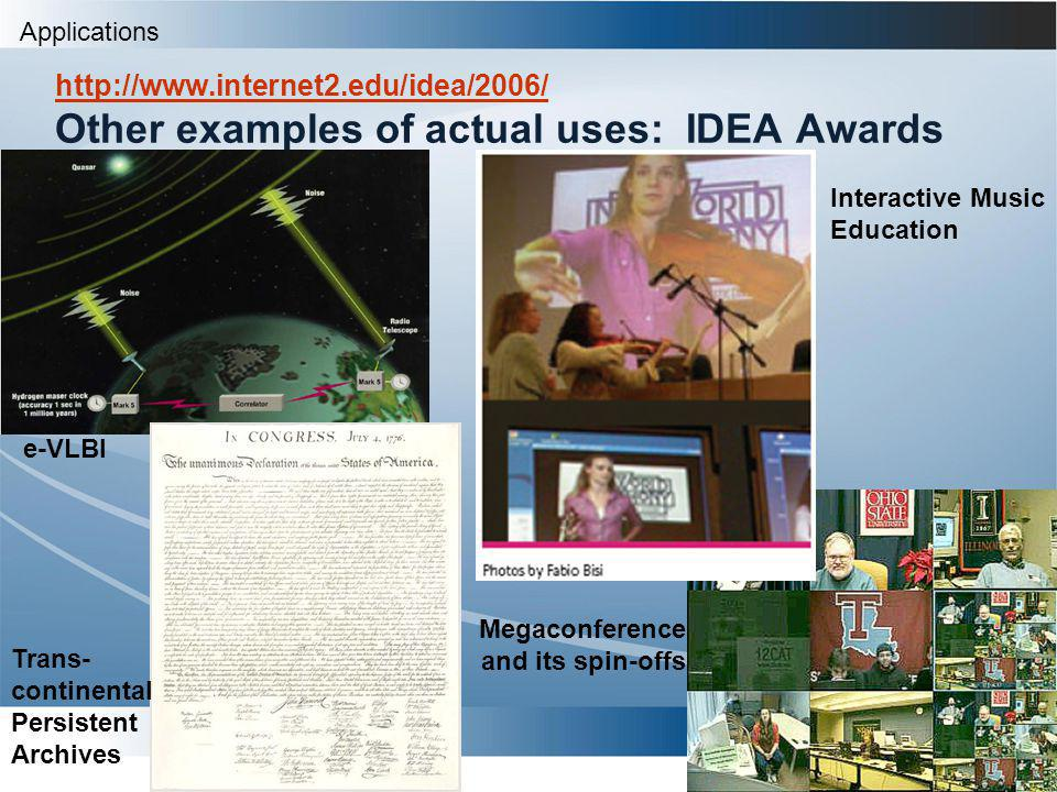 Heather Boyles Other examples of actual uses: IDEA Awards http://www.internet2.edu/idea/2006/ e-VLBI Trans- continental Persistent Archives Interactive Music Education Megaconference and its spin-offs Applications