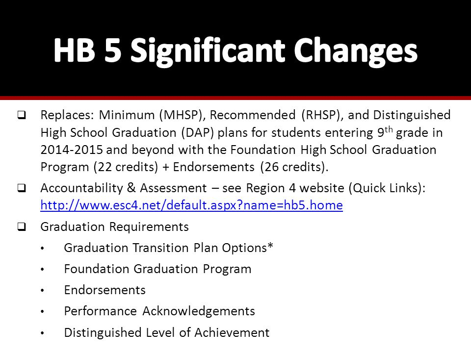  Replaces: Minimum (MHSP), Recommended (RHSP), and Distinguished High School Graduation (DAP) plans for students entering 9 th grade in 2014-2015 and