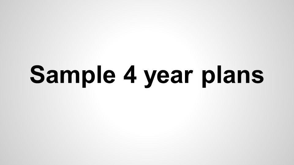 Sample 4 year plans