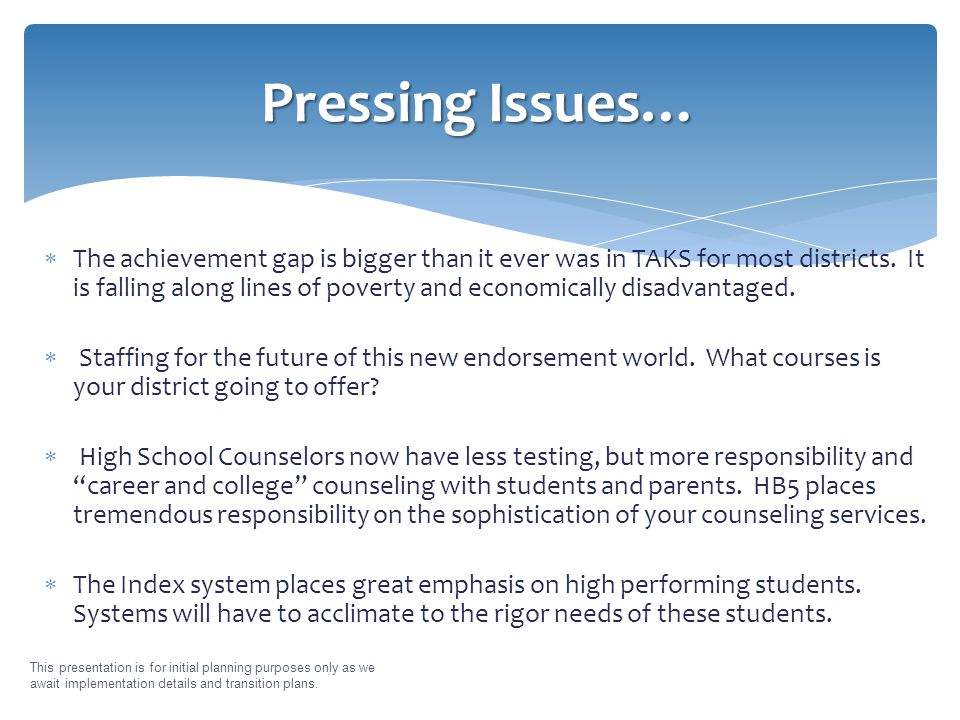  The achievement gap is bigger than it ever was in TAKS for most districts.