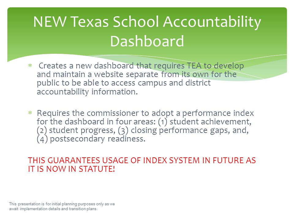 This presentation is for initial planning purposes only as we await implementation details and transition plans. NEW Texas School Accountability Dashb
