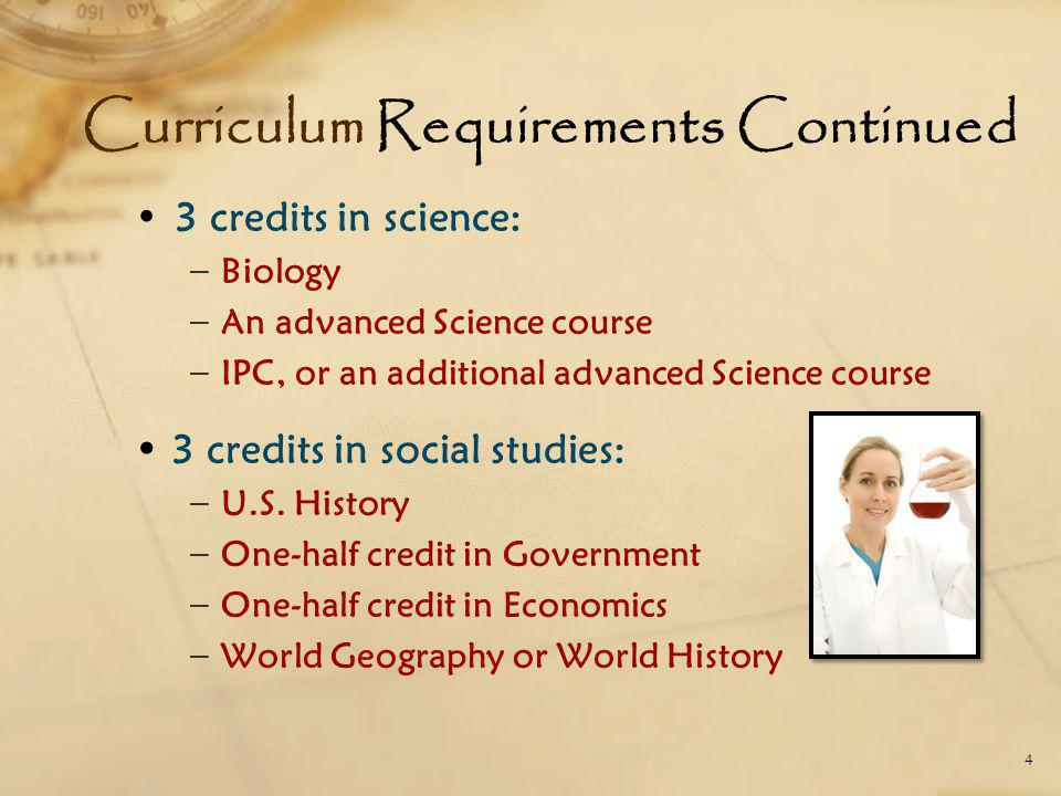 Curriculum Requirements Continued 3 credits in science: − Biology − An advanced Science course − IPC, or an additional advanced Science course 3 credi