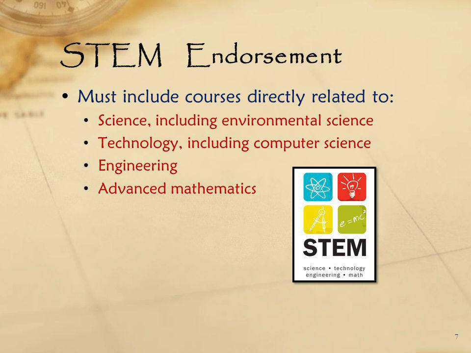 STEM Endorsement Must include courses directly related to: Science, including environmental science Technology, including computer science Engineering