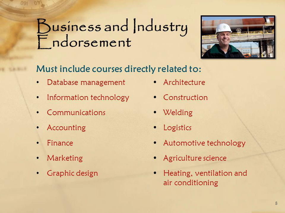 Business and Industry Endorsement Database management Information technology Communications Accounting Finance Marketing Graphic design Architecture Construction Welding Logistics Automotive technology Agriculture science Heating, ventilation and air conditioning 8 Must include courses directly related to:
