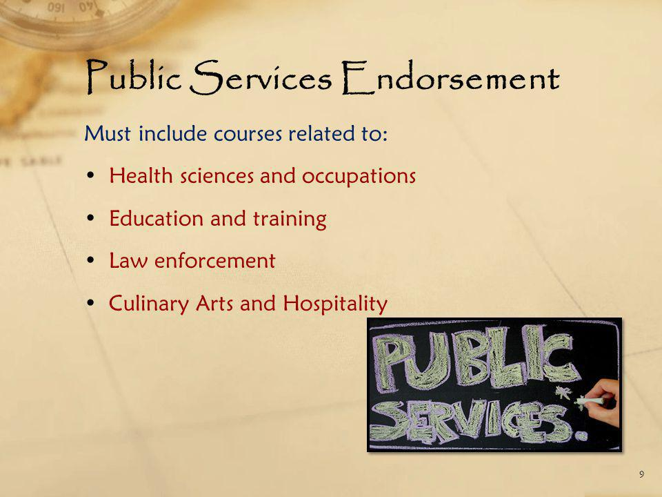 Public Services Endorsement Must include courses related to: Health sciences and occupations Education and training Law enforcement Culinary Arts and