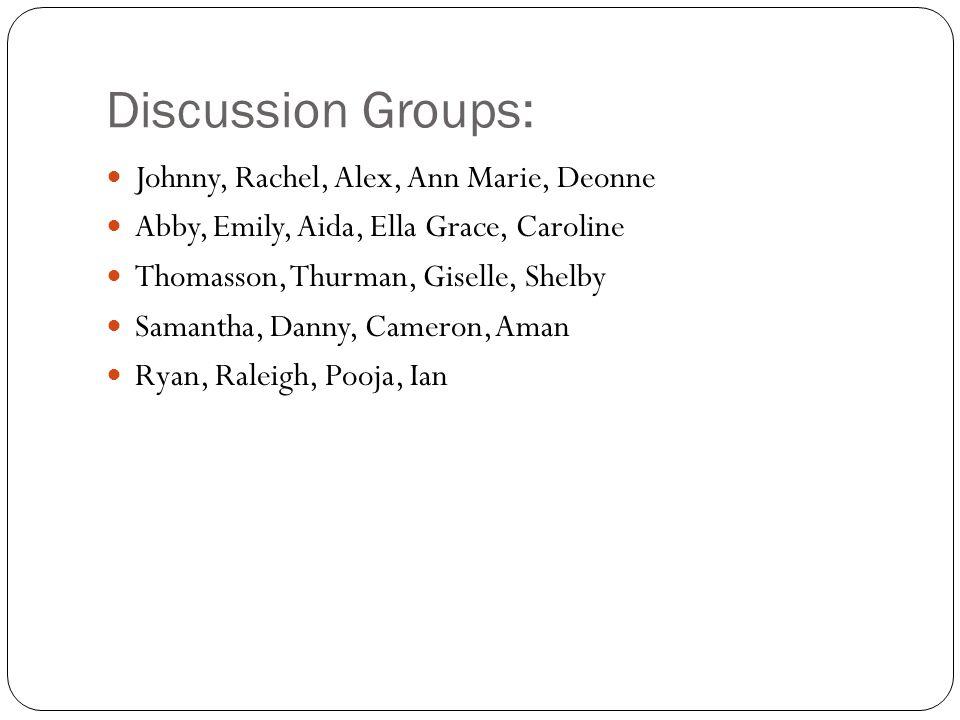 Discussion Groups: Johnny, Rachel, Alex, Ann Marie, Deonne Abby, Emily, Aida, Ella Grace, Caroline Thomasson, Thurman, Giselle, Shelby Samantha, Danny, Cameron, Aman Ryan, Raleigh, Pooja, Ian