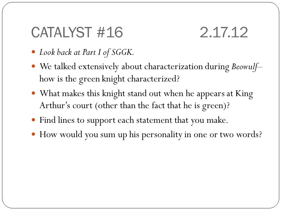 CATALYST #162.17.12 Look back at Part I of SGGK.